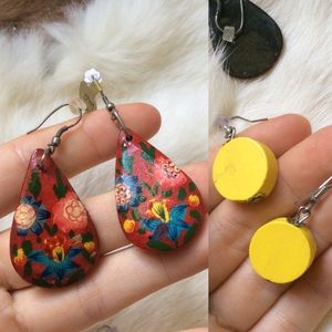 Boho Floral Sun Hand painted Earrings